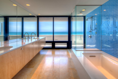 Lemon Bay Glass_ Island Home_Shower and Mirrored Vanity-1