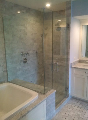 Lemon Bay Glass_Blue Marble Enclosed Shower