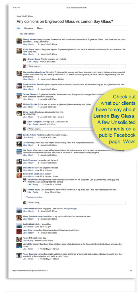 What clients are saying about LemonBayGlass_2017